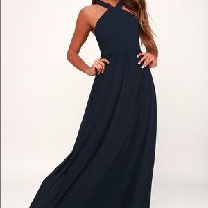 Air of Romance Navy Blue Maxi Dress
